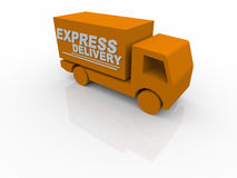 3D White Express Delivery Van Royalty Free Stock Images