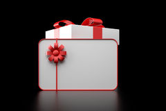 3d white gift box. With blank card on black background Royalty Free Stock Photos