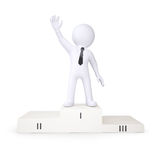 3d white human is in the first place podium. Render on a white background Royalty Free Stock Photo