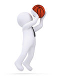 3d white human ready to throw a basketball Royalty Free Stock Photo