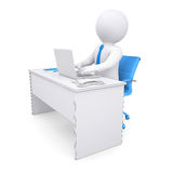 3d white human sitting at a table. Working at a laptop. Render on a white background Royalty Free Stock Photography