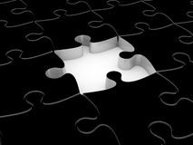 3D white jigsaw puzzles. Background. Work concept Stock Image