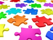 3D white jigsaw puzzles. Background. Work concept Stock Images