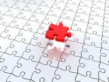 3D white jigsaw puzzles. Background. Work concept Stock Photos