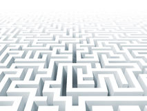 3d white labyrinth background Stock Images
