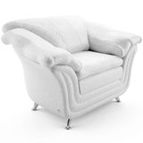 3d white leather armchair 45 degree Stock Photo