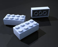 3D White lego blocks Stock Images