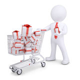 3d white man with a cart of gifts. Render on a white background Stock Photo