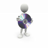 3D white man with a CD. 3D render white man with a CD Stock Photography