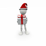 3D white man with gift box Royalty Free Stock Photos