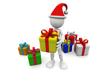3D white man with gift boxes Stock Images