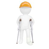 3d white man in a helmet and on crutches Royalty Free Stock Photo