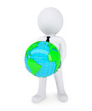 3d white man holding the planet in their hands. Isolated render on a white background Stock Photography