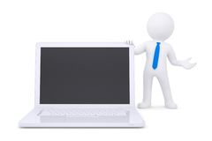 3d white man next to the laptop Stock Photo