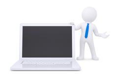 3d white man next to the laptop Stock Photo