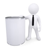 3d white man next to a metal can Stock Photography