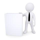 3d white man next to the white box Stock Images