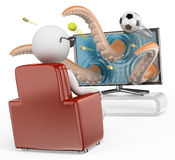 3D White People. 3D Television Royalty Free Stock Image