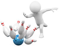 3D white people. Bowling. 3d white person bowling having fun. 3d image. White background Stock Photography