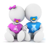 3d white people brother and sister. White background, 3d image Royalty Free Stock Photos