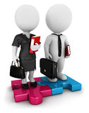 3d white people business people. 3d white people businessman and businesswoman standing on piece of puzzle,  white background, 3d image Stock Photos