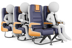 3D white people. Business people on a air travel. 3d white business persons in a plane with the seat belt fastened, one working with a laptop. 3d image. White Royalty Free Stock Image