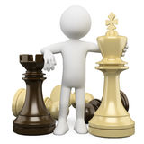 3D white people. Chess Stock Photo