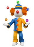 3D white people. Clown juggler Royalty Free Stock Images