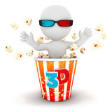 3d white people comes out of popcorn Stock Photo