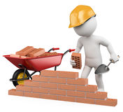 3D white people. Construction worker. 3d white worker building a brick wall. 3d image. White background Stock Photo