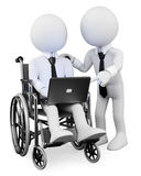 3D white people. Disabled businessman working. 3d white disabled business person with a laptop on his legs, working with a workmate  . 3d image. White background Stock Photography