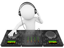 3D white people. DJ with a mixer. 3d white person disc jockey with a mixer and headphones. 3d image. Isolated white background Royalty Free Stock Image