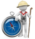 3D white people. Explorer with compass. 3d white person with a compass, a staff, binoculars and a explorer hat. 3d image. White background stock illustration