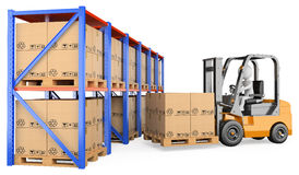 3D white people. Forklift in a warehouse Royalty Free Stock Images