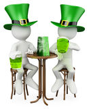 3D white people. Friends in the St. Patrick's Day Stock Photo