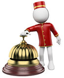 3D white people. Hotel reception bell. 3d white bellhop ringing a hotel reception bell. 3d image. White background Stock Image