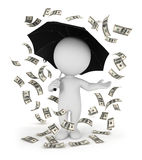 3d white people money rain with an umbrella. White background, 3d image Royalty Free Stock Image