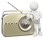 3D white people. Retro radio Stock Image