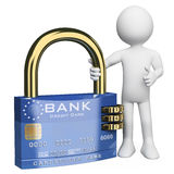 3D white people. Secure credit card. 3d white person with a secure credit card padlock. 3d image. White background Stock Photography