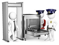 3D White People. Security Control Airport Access. Metal Detector Royalty Free Stock Image