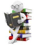 3D white people. Student reads a book. 3d white person leaning on a pile of books reading. 3d image. White background Royalty Free Stock Images