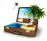 3d white people in a suitcase paradise. White background, 3d image Stock Images