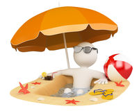 3D white people. Summer beach. 3d white person in the beach with umbrella, slippers, ball and a drink. 3d image. Isolated white background Royalty Free Stock Images