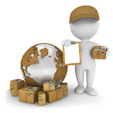 3d white people worldwide delivery. White background, 3d image Stock Photo
