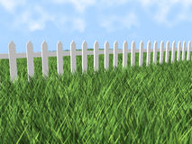 3d white picket fence Stock Photo