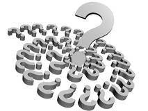 3d white questions stock images