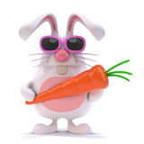 3d White rabbit has a carrot. 3d render of a white rabbit holding a carrot Stock Images