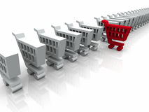 3D White and Red Cart Symbol Stock Photos
