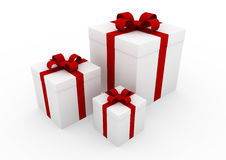 3d white red gift box. Isolated on white background Royalty Free Stock Images
