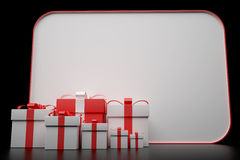 3d white and red gift box with a card Royalty Free Stock Image